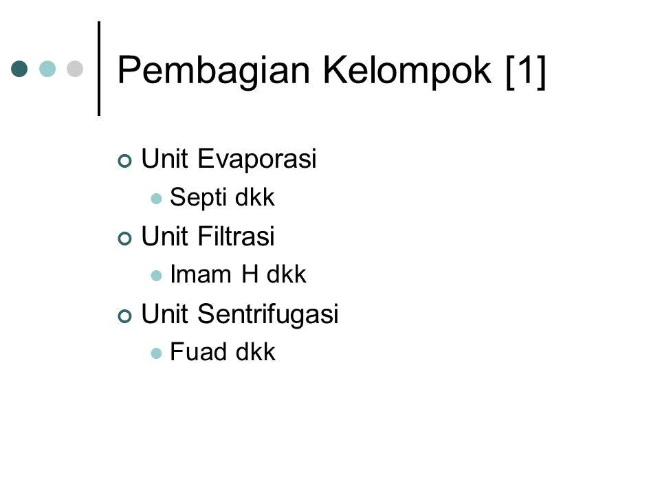 Pembagian Kelompok [1] Unit Evaporasi Septi dkk Unit Filtrasi Imam H dkk Unit Sentrifugasi Fuad dkk
