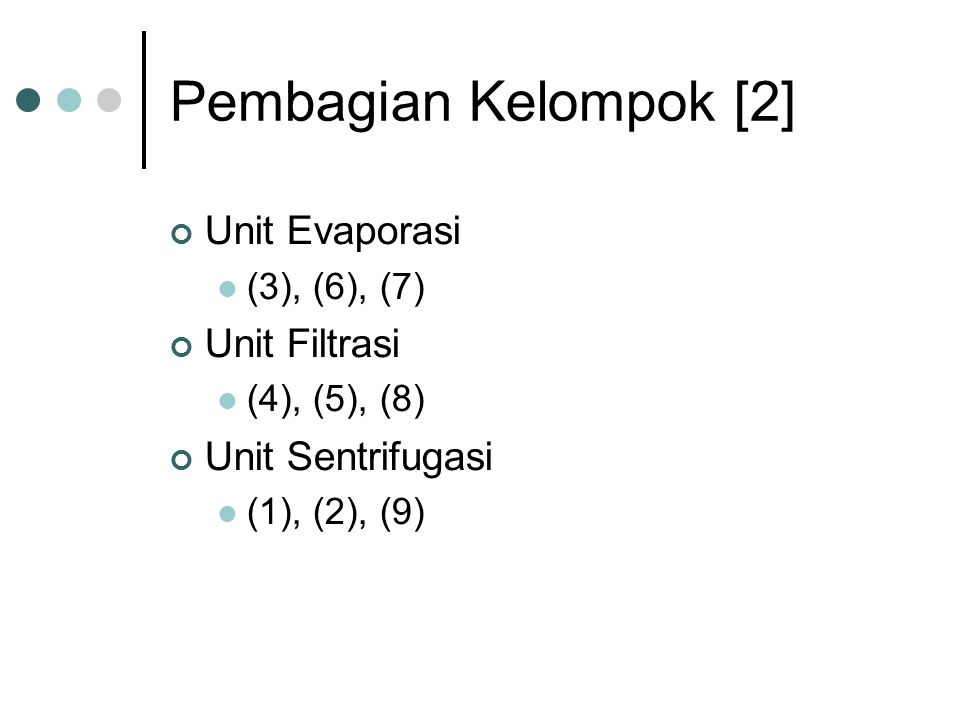 Pembagian Kelompok [2] Unit Evaporasi (3), (6), (7) Unit Filtrasi (4), (5), (8) Unit Sentrifugasi (1), (2), (9)
