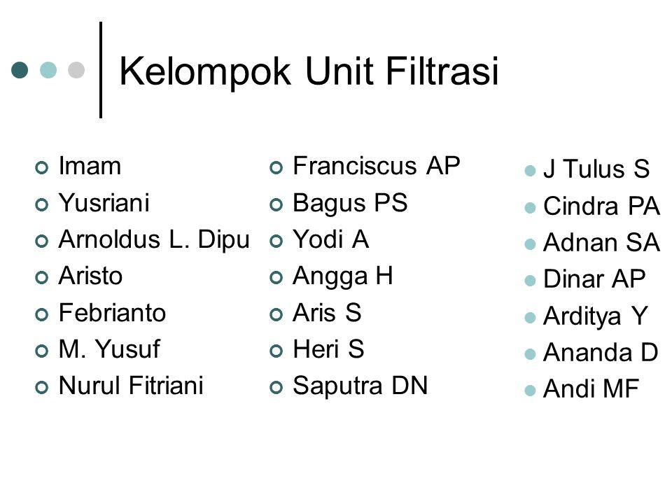 Kelompok Unit Filtrasi Imam Yusriani Arnoldus L. Dipu Aristo Febrianto M.