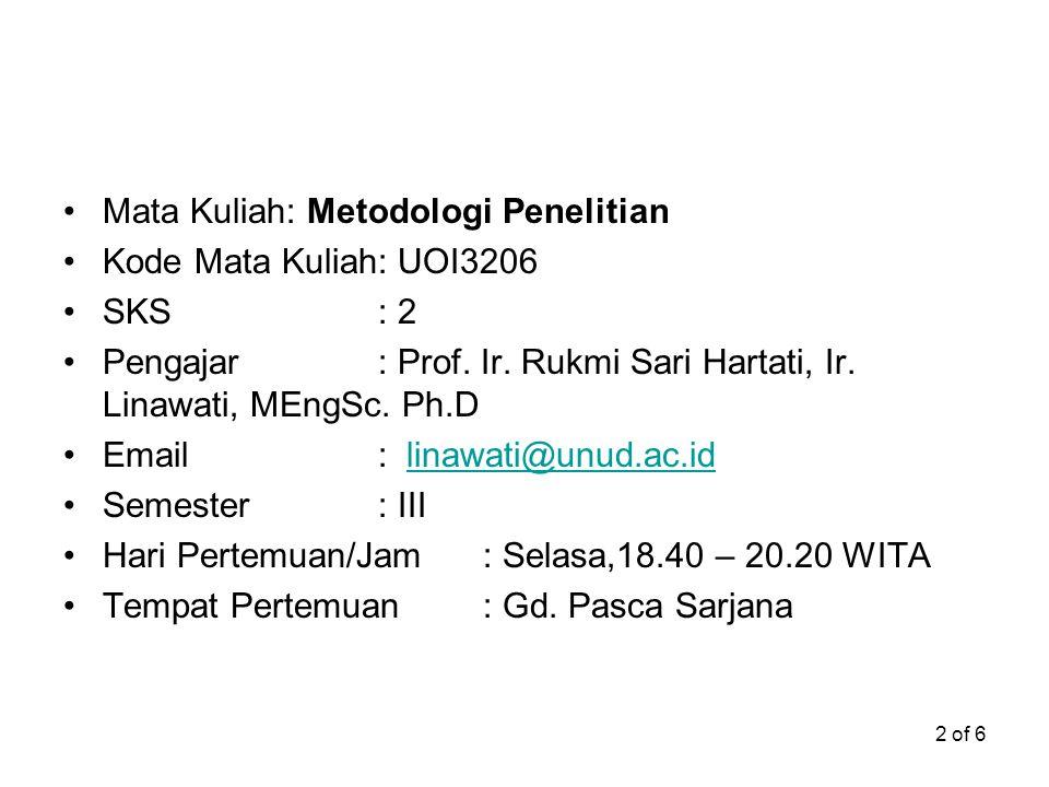 2 of 6 Mata Kuliah: Metodologi Penelitian Kode Mata Kuliah: UOI3206 SKS: 2 Pengajar: Prof. Ir. Rukmi Sari Hartati, Ir. Linawati, MEngSc. Ph.D Email: l