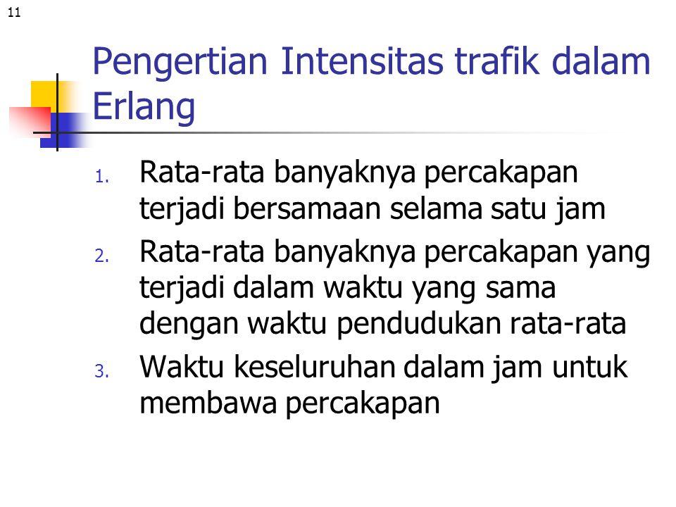 11 Pengertian Intensitas trafik dalam Erlang 1. Rata-rata banyaknya percakapan terjadi bersamaan selama satu jam 2. Rata-rata banyaknya percakapan yan