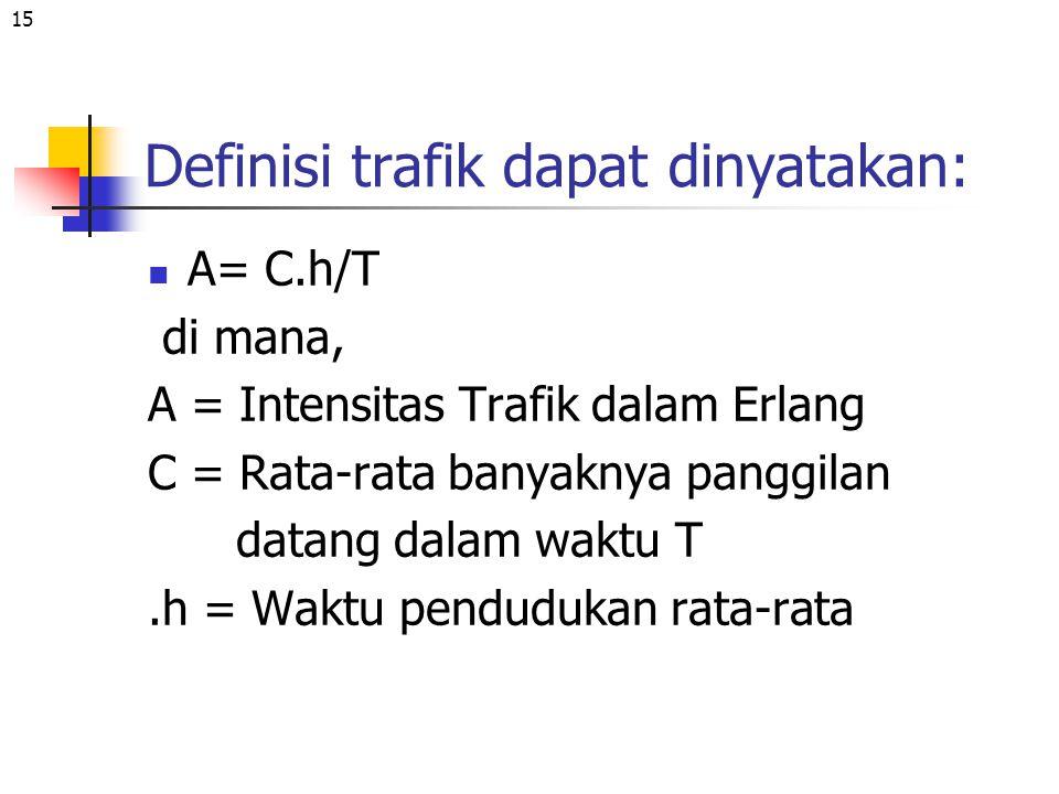 15 Definisi trafik dapat dinyatakan: A= C.h/T di mana, A = Intensitas Trafik dalam Erlang C = Rata-rata banyaknya panggilan datang dalam waktu T.h = W