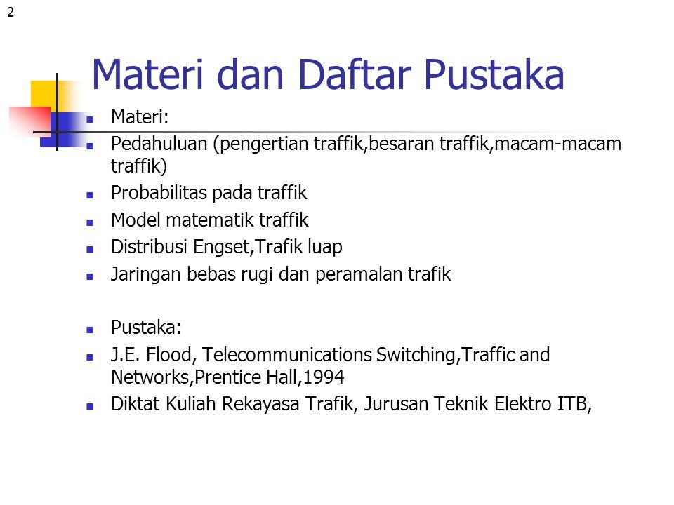 2 Materi dan Daftar Pustaka Materi: Pedahuluan (pengertian traffik,besaran traffik,macam-macam traffik) Probabilitas pada traffik Model matematik traf
