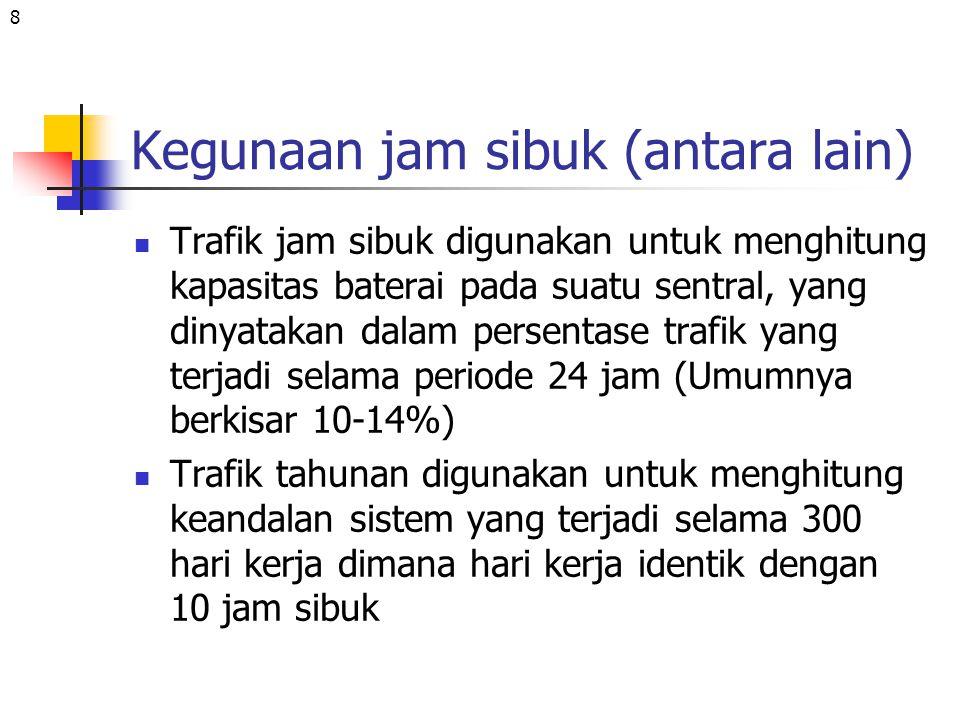 19 jawab Traffik offered: A =c.h/T=1200x3/60=60E Traffic carried = 1194 x 3/60 = 59,7 E Traffic lost = 6 x 3/60 = 0,3 E GOS = 6/1200 = 0,005 Waktu kongesti = 0,005 x 3600=18 det