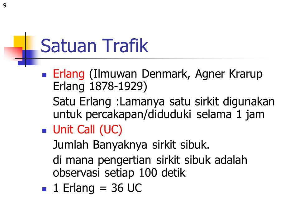 9 Satuan Trafik Erlang (Ilmuwan Denmark, Agner Krarup Erlang 1878-1929) Satu Erlang :Lamanya satu sirkit digunakan untuk percakapan/diduduki selama 1