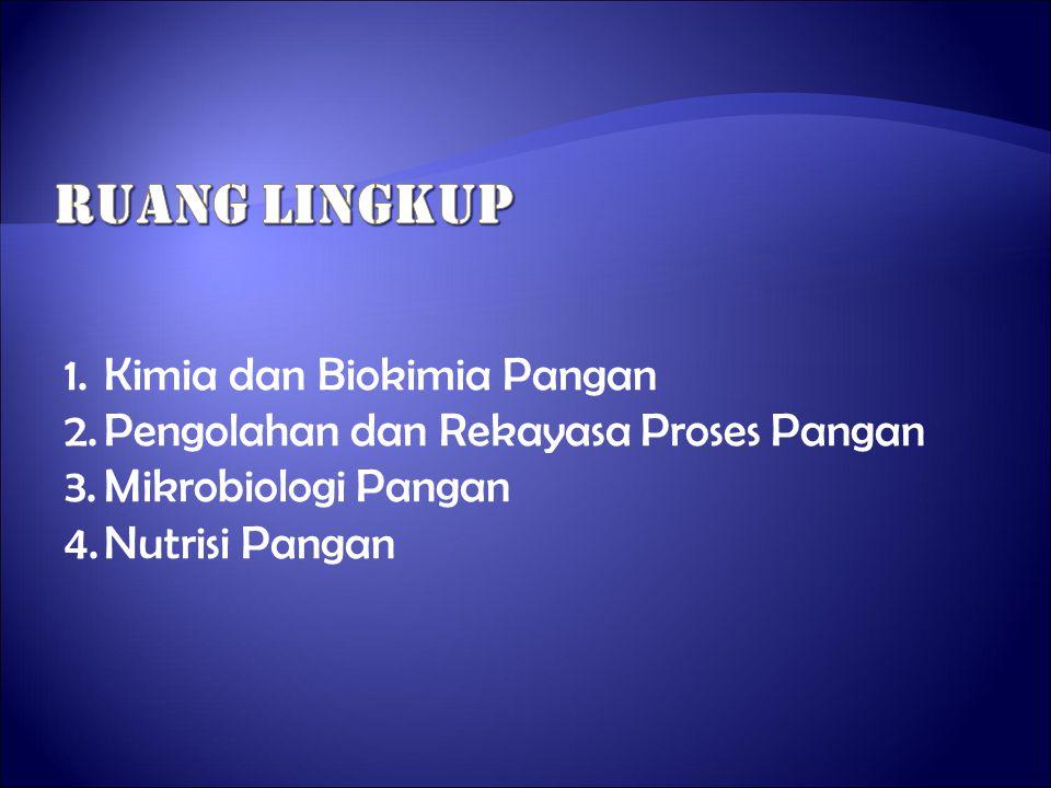 1.Kimia dan Biokimia Pangan 2.Pengolahan dan Rekayasa Proses Pangan 3.Mikrobiologi Pangan 4.Nutrisi Pangan
