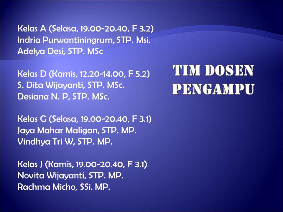 Kelas A (Selasa, 19.00-20.40, F 3.2) Indria Purwantiningrum, STP. Msi. Adelya Desi, STP. MSc Kelas D (Kamis, 12.20-14.00, F 5.2) S. Dita Wijayanti, ST