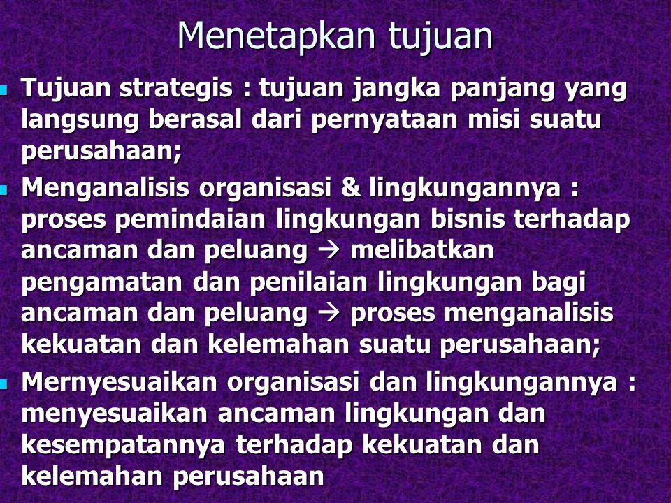 Menetapkan tujuan Tujuan strategis : tujuan jangka panjang yang langsung berasal dari pernyataan misi suatu perusahaan; Tujuan strategis : tujuan jang