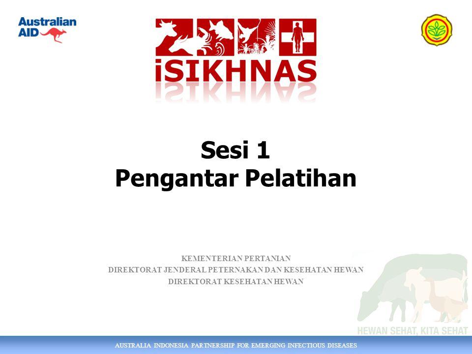 AUSTRALIA INDONESIA PARTNERSHIP FOR EMERGING INFECTIOUS DISEASES KEMENTERIAN PERTANIAN DIREKTORAT JENDERAL PETERNAKAN DAN KESEHATAN HEWAN DIREKTORAT KESEHATAN HEWAN Sesi 1 Pengantar Pelatihan