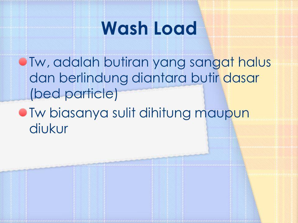 Tw, adalah butiran yang sangat halus dan berlindung diantara butir dasar (bed particle) Tw biasanya sulit dihitung maupun diukur