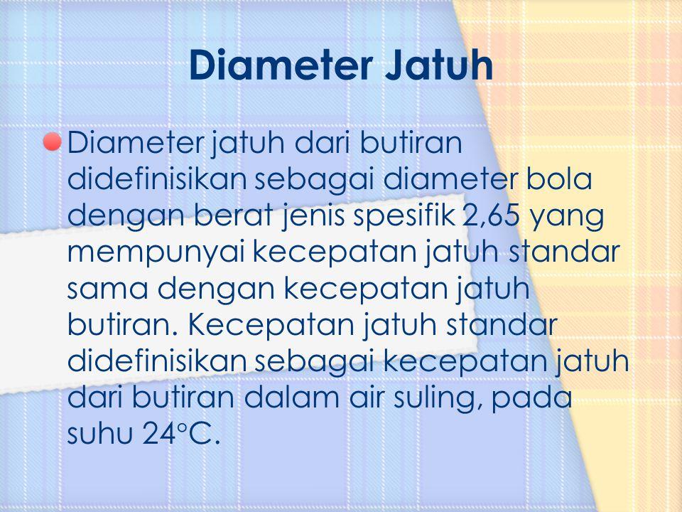 Diameter jatuh dari butiran didefinisikan sebagai diameter bola dengan berat jenis spesifik 2,65 yang mempunyai kecepatan jatuh standar sama dengan ke