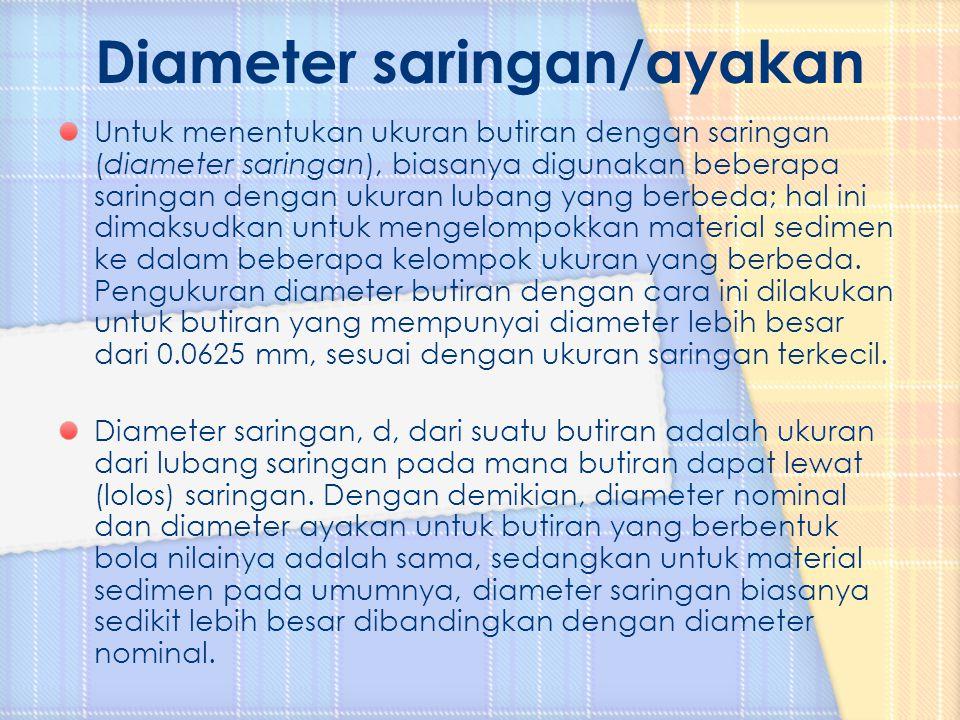 Untuk menentukan ukuran butiran dengan saringan (diameter saringan), biasanya digunakan beberapa saringan dengan ukuran lubang yang berbeda; hal ini d