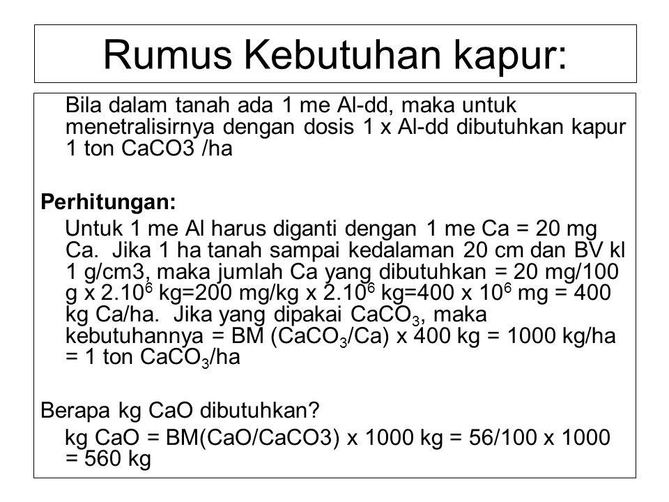 Rumus Kebutuhan kapur: Bila dalam tanah ada 1 me Al-dd, maka untuk menetralisirnya dengan dosis 1 x Al-dd dibutuhkan kapur 1 ton CaCO3 /ha Perhitungan