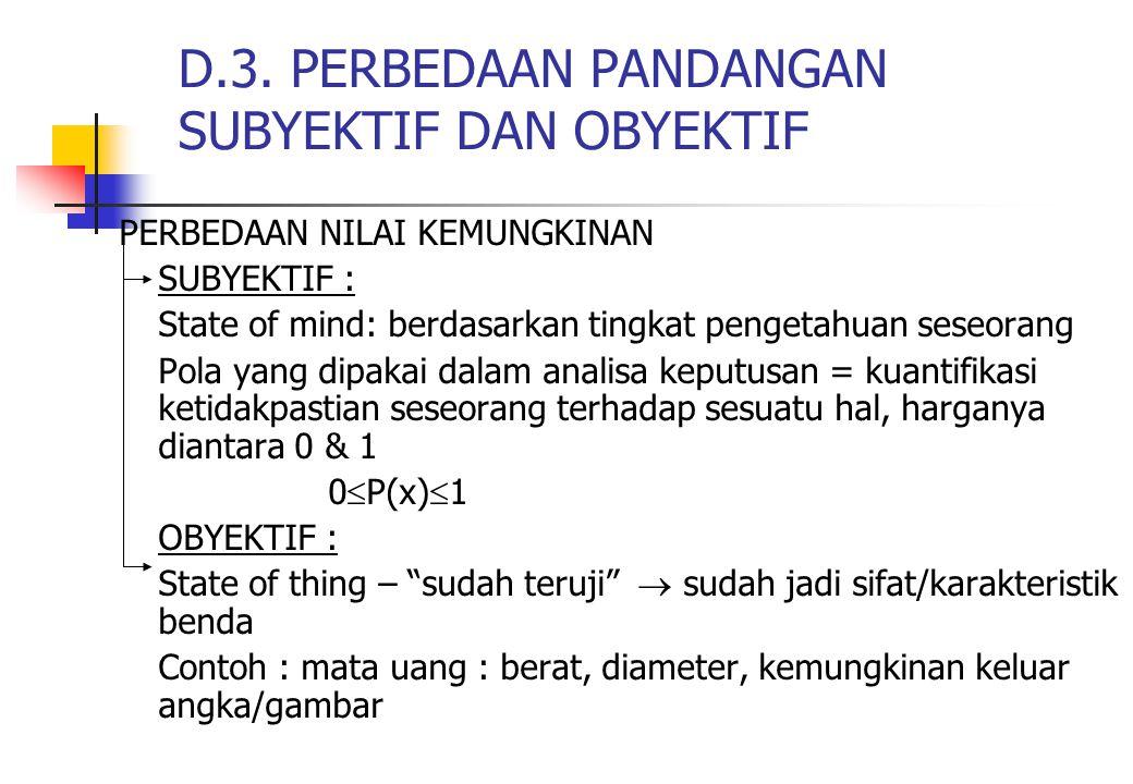 D.3. PERBEDAAN PANDANGAN SUBYEKTIF DAN OBYEKTIF PERBEDAAN NILAI KEMUNGKINAN SUBYEKTIF : State of mind: berdasarkan tingkat pengetahuan seseorang Pola