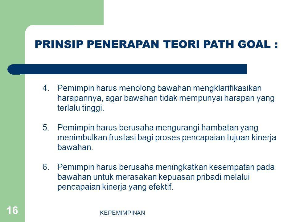 KEPEMIMPINAN 16 4.Pemimpin harus menolong bawahan mengklarifikasikan harapannya, agar bawahan tidak mempunyai harapan yang terlalu tinggi. 5.Pemimpin