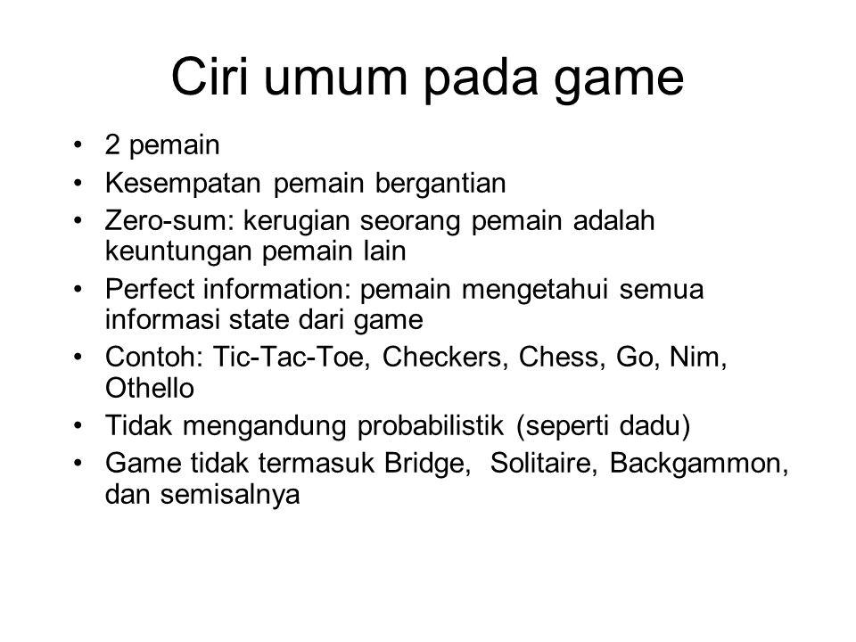 Ciri umum pada game 2 pemain Kesempatan pemain bergantian Zero-sum: kerugian seorang pemain adalah keuntungan pemain lain Perfect information: pemain