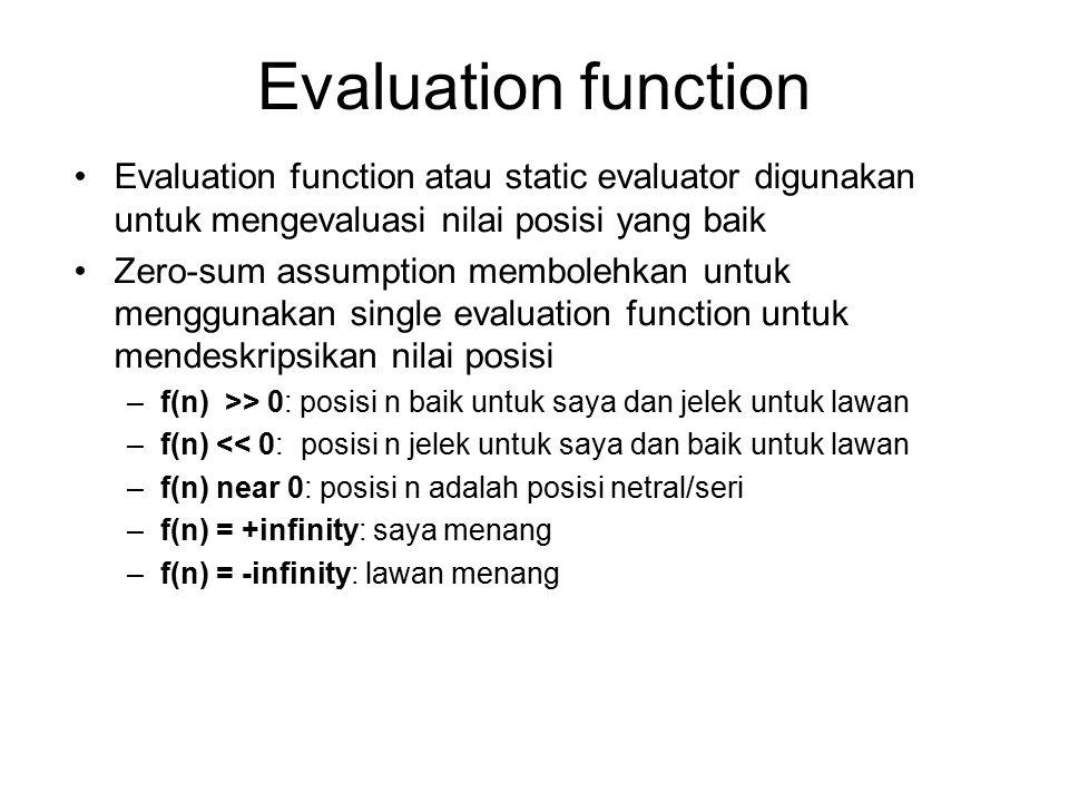 Evaluation function Evaluation function atau static evaluator digunakan untuk mengevaluasi nilai posisi yang baik Zero-sum assumption membolehkan untu