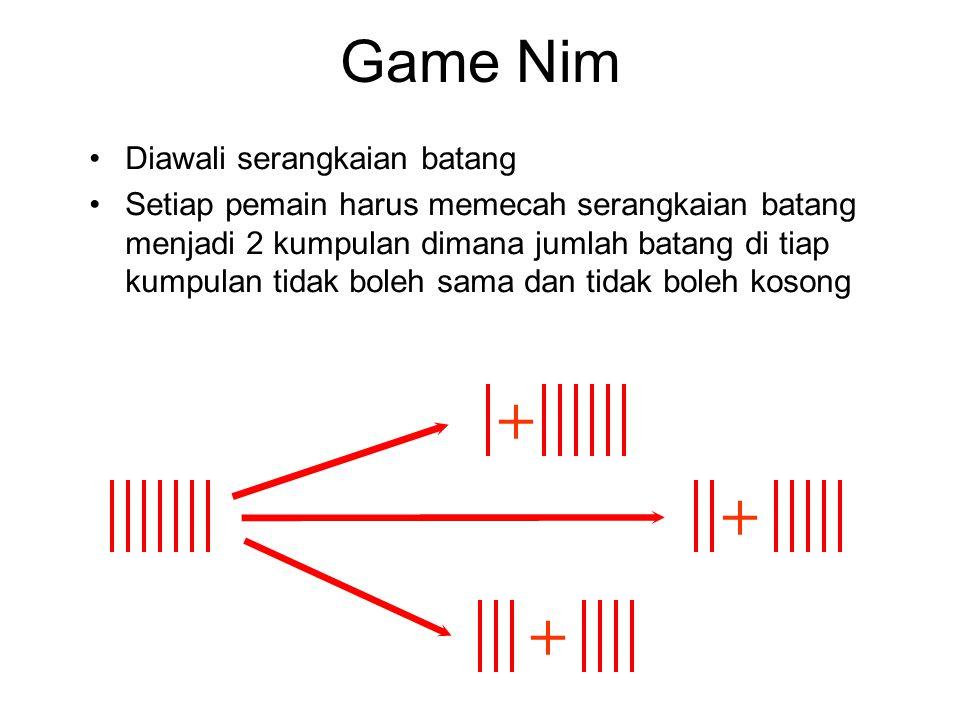 Game Nim Diawali serangkaian batang Setiap pemain harus memecah serangkaian batang menjadi 2 kumpulan dimana jumlah batang di tiap kumpulan tidak bole