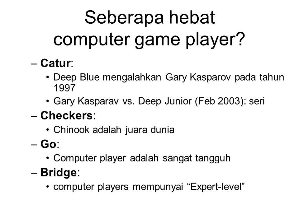 Seberapa hebat computer game player? –Catur: Deep Blue mengalahkan Gary Kasparov pada tahun 1997 Gary Kasparav vs. Deep Junior (Feb 2003): seri –Check