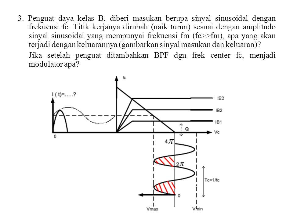 3. Penguat daya kelas B, diberi masukan berupa sinyal sinusoidal dengan frekuensi fc. Titik kerjanya dirubah (naik turun) sesuai dengan amplitudo siny