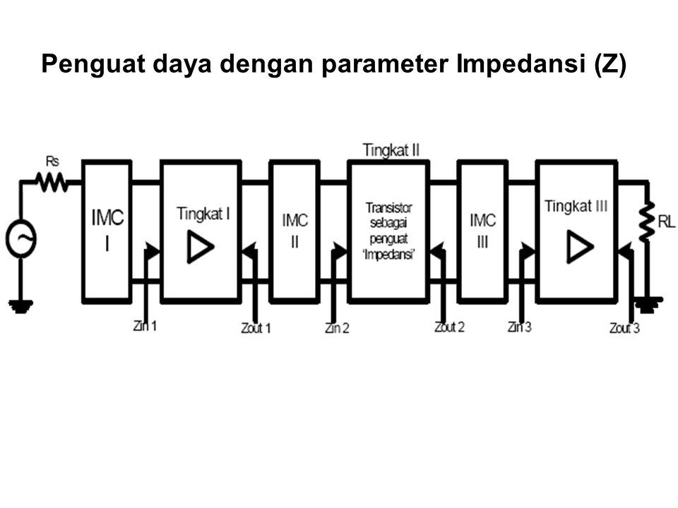 Parameter Impedansi transistor Z in atau Z out ada 2 model, yaitu: 1.