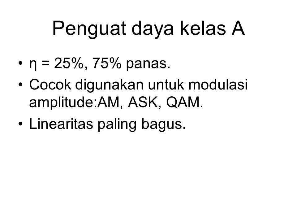 Penguat daya kelas A η = 25%, 75% panas. Cocok digunakan untuk modulasi amplitude:AM, ASK, QAM. Linearitas paling bagus.