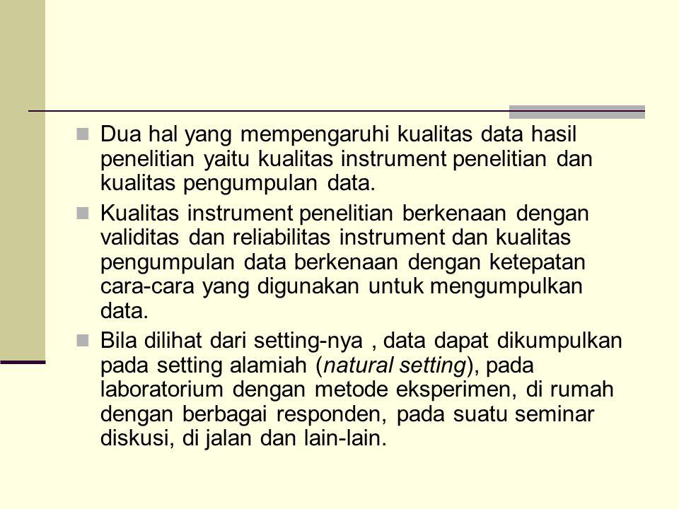 Dua hal yang mempengaruhi kualitas data hasil penelitian yaitu kualitas instrument penelitian dan kualitas pengumpulan data. Kualitas instrument penel