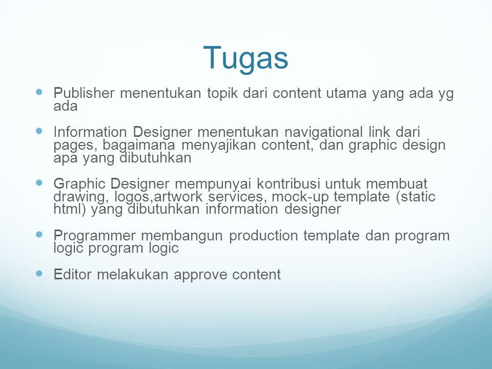 Tugas Publisher menentukan topik dari content utama yang ada yg ada Information Designer menentukan navigational link dari pages, bagaimana menyajikan