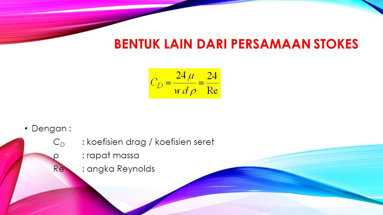 BENTUK LAIN DARI PERSAMAAN STOKES Dengan : C D : koefisien drag / koefisien seret ρ : rapat massa Re : angka Reynolds
