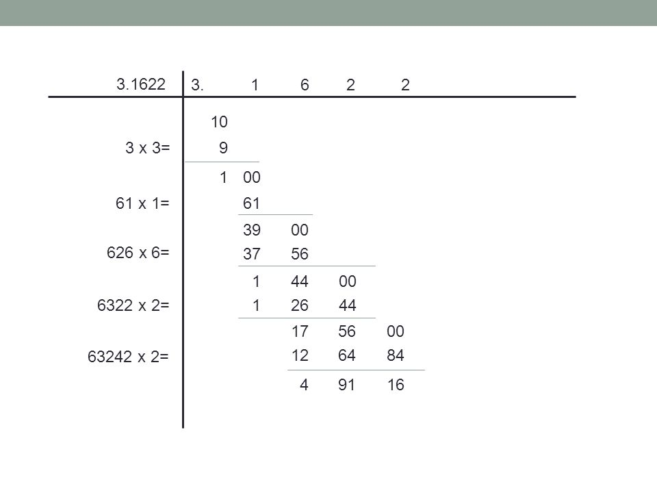 3.1622 3 x 3= 10 9 100 61 x 1=61 3900 3756 14400 12644 175600 126484 49116 626 x 6= 6322 x 2= 63242 x 2=