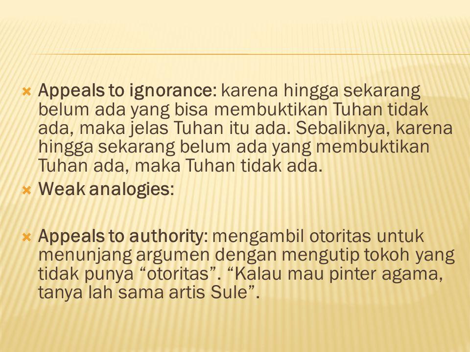  Appeals to ignorance: karena hingga sekarang belum ada yang bisa membuktikan Tuhan tidak ada, maka jelas Tuhan itu ada.