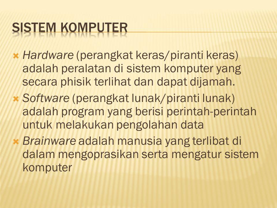  Hardware (perangkat keras/piranti keras) adalah peralatan di sistem komputer yang secara phisik terlihat dan dapat dijamah.  Software (perangkat lu