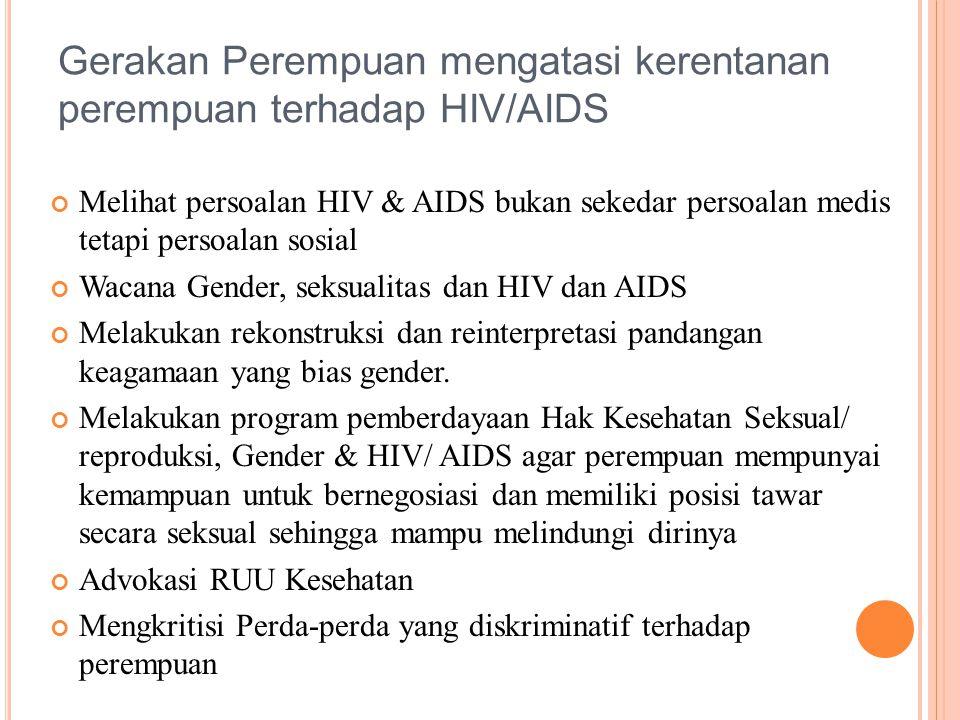 Melihat persoalan HIV & AIDS bukan sekedar persoalan medis tetapi persoalan sosial Wacana Gender, seksualitas dan HIV dan AIDS Melakukan rekonstruksi dan reinterpretasi pandangan keagamaan yang bias gender.