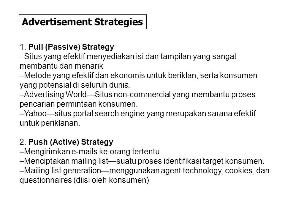 Advertisement Strategies 1.