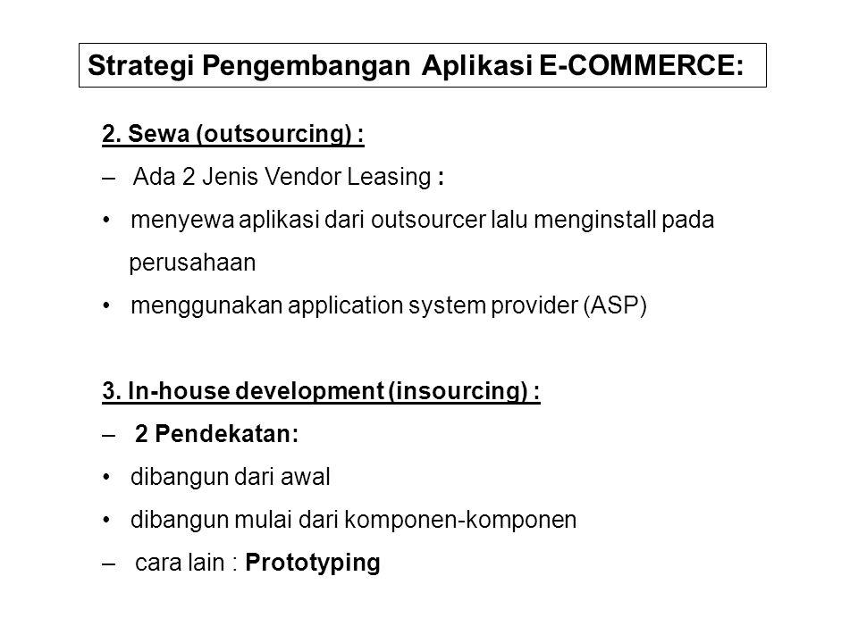 2. Sewa (outsourcing) : – Ada 2 Jenis Vendor Leasing : menyewa aplikasi dari outsourcer lalu menginstall pada perusahaan menggunakan application syste