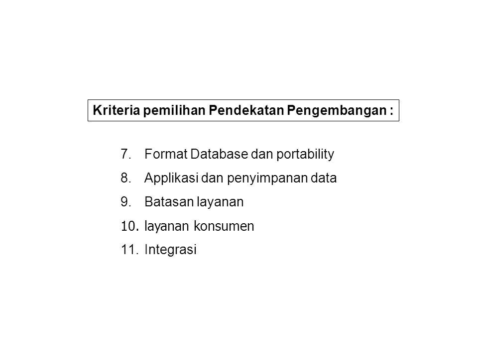 7.Format Database dan portability 8.Applikasi dan penyimpanan data 9.Batasan layanan 10.layanan konsumen 11.Integrasi Kriteria pemilihan Pendekatan Pengembangan :