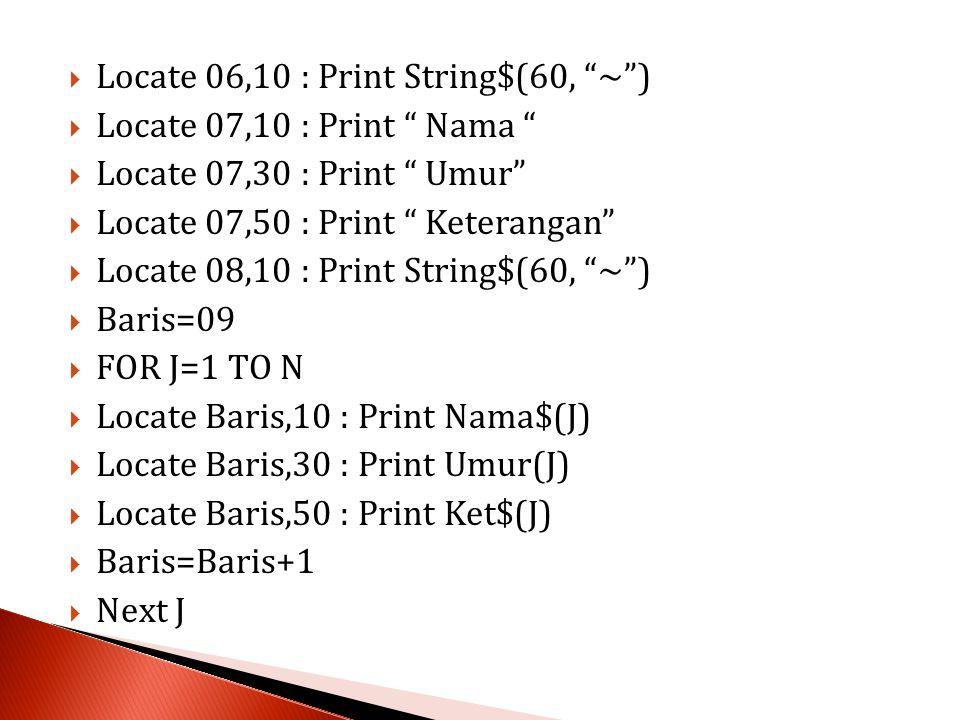  Locate 06,10 : Print String$(60, ~ )  Locate 07,10 : Print Nama  Locate 07,30 : Print Umur  Locate 07,50 : Print Keterangan  Locate 08,10 : Print String$(60, ~ )  Baris=09  FOR J=1 TO N  Locate Baris,10 : Print Nama$(J)  Locate Baris,30 : Print Umur(J)  Locate Baris,50 : Print Ket$(J)  Baris=Baris+1  Next J