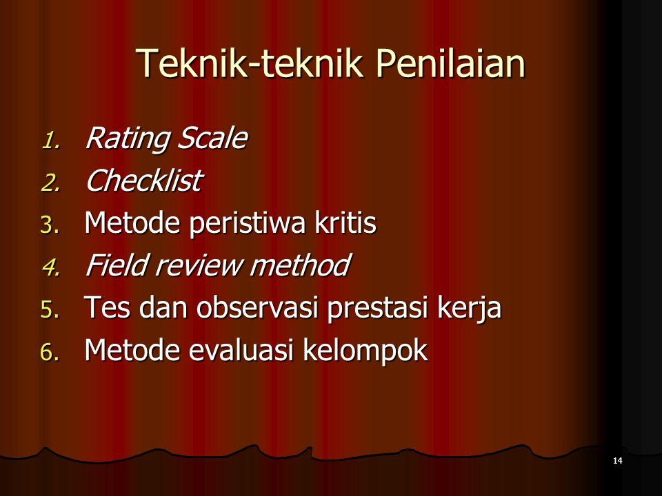 14 Teknik-teknik Penilaian 1. Rating Scale 2. Checklist 3. Metode peristiwa kritis 4. Field review method 5. Tes dan observasi prestasi kerja 6. Metod