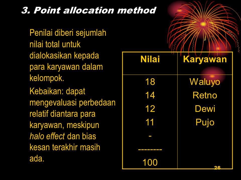 26 3. Point allocation method Penilai diberi sejumlah nilai total untuk dialokasikan kepada para karyawan dalam kelompok. Kebaikan: dapat mengevaluasi