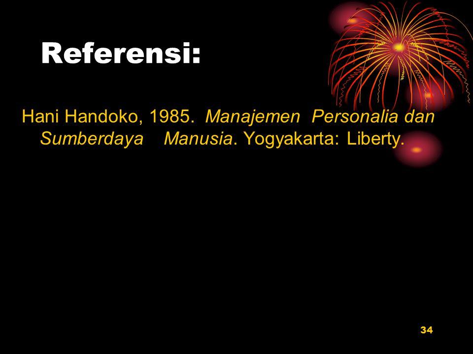 34 Referensi: Hani Handoko, 1985. Manajemen Personalia dan Sumberdaya Manusia. Yogyakarta: Liberty.