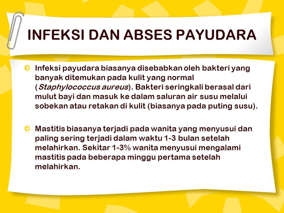INFEKSI DAN ABSES PAYUDARA Infeksi payudara biasanya disebabkan oleh bakteri yang banyak ditemukan pada kulit yang normal (Staphylococcus aureus). Bak