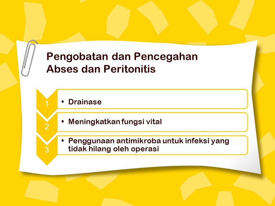 Pengobatan dan Pencegahan Abses dan Peritonitis 1 Drainase 2 Meningkatkan fungsi vital 3 Penggunaan antimikroba untuk infeksi yang tidak hilang oleh operasi