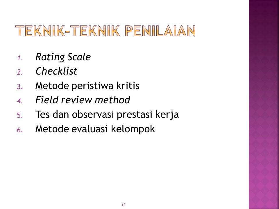 12 1. Rating Scale 2. Checklist 3. Metode peristiwa kritis 4. Field review method 5. Tes dan observasi prestasi kerja 6. Metode evaluasi kelompok