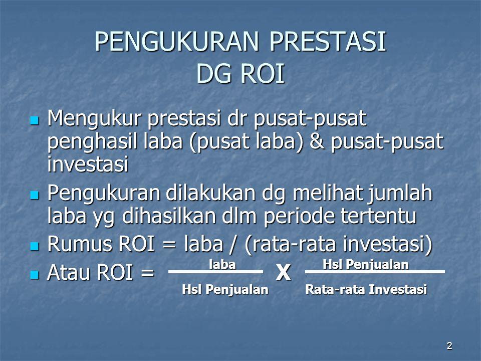 2 PENGUKURAN PRESTASI DG ROI Mengukur prestasi dr pusat-pusat penghasil laba (pusat laba) & pusat-pusat investasi Mengukur prestasi dr pusat-pusat pen