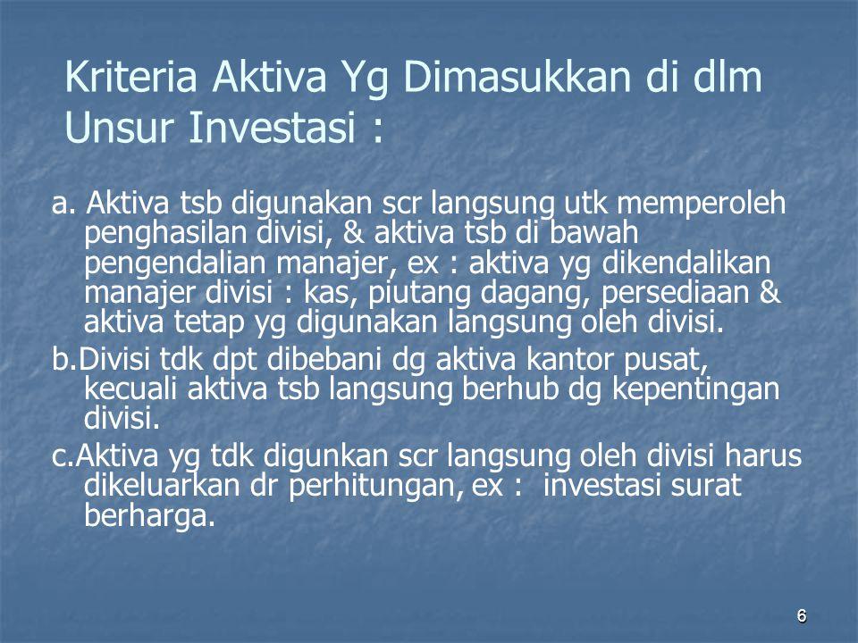 6 Kriteria Aktiva Yg Dimasukkan di dlm Unsur Investasi : a. Aktiva tsb digunakan scr langsung utk memperoleh penghasilan divisi, & aktiva tsb di bawah