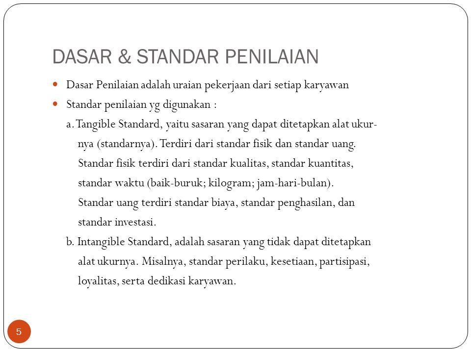 DASAR & STANDAR PENILAIAN 5 Dasar Penilaian adalah uraian pekerjaan dari setiap karyawan Standar penilaian yg digunakan : a. Tangible Standard, yaitu