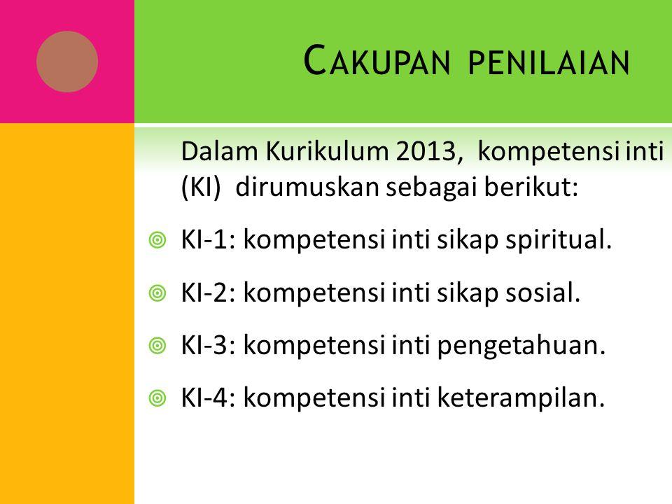 C AKUPAN PENILAIAN Dalam Kurikulum 2013, kompetensi inti (KI) dirumuskan sebagai berikut:  KI-1: kompetensi inti sikap spiritual.