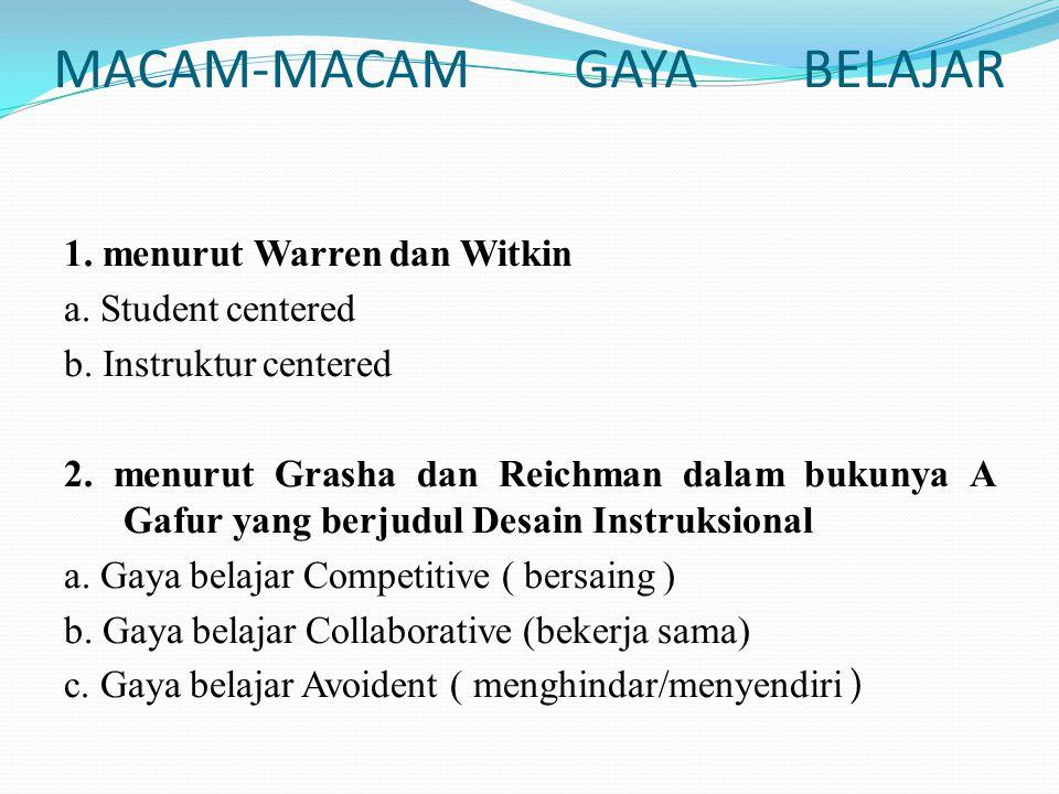 MACAM-MACAM GAYA BELAJAR 1. menurut Warren dan Witkin a. Student centered b. Instruktur centered 2. menurut Grasha dan Reichman dalam bukunya A Gafur