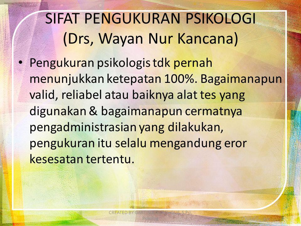 SIFAT PENGUKURAN PSIKOLOGI (Drs, Wayan Nur Kancana) Pengukuran psikologis tdk pernah menunjukkan ketepatan 100%. Bagaimanapun valid, reliabel atau bai