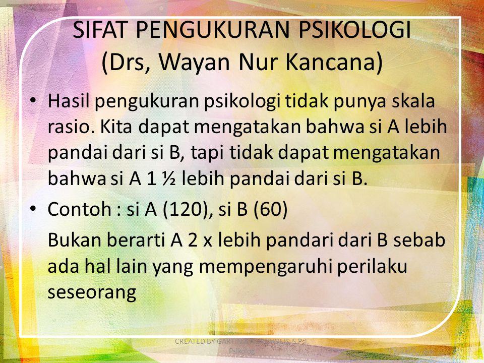 SIFAT PENGUKURAN PSIKOLOGI (Drs, Wayan Nur Kancana) Hasil pengukuran psikologi tidak punya skala rasio. Kita dapat mengatakan bahwa si A lebih pandai